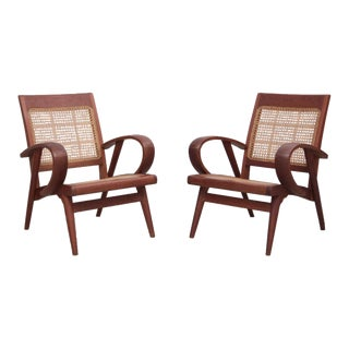 Pair of Danish Solid Teak Studio Lounge Chairs For Sale