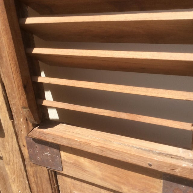 Cottage Pair of Heavy Rustic Antique Wood Shutters For Sale - Image 3 of 9