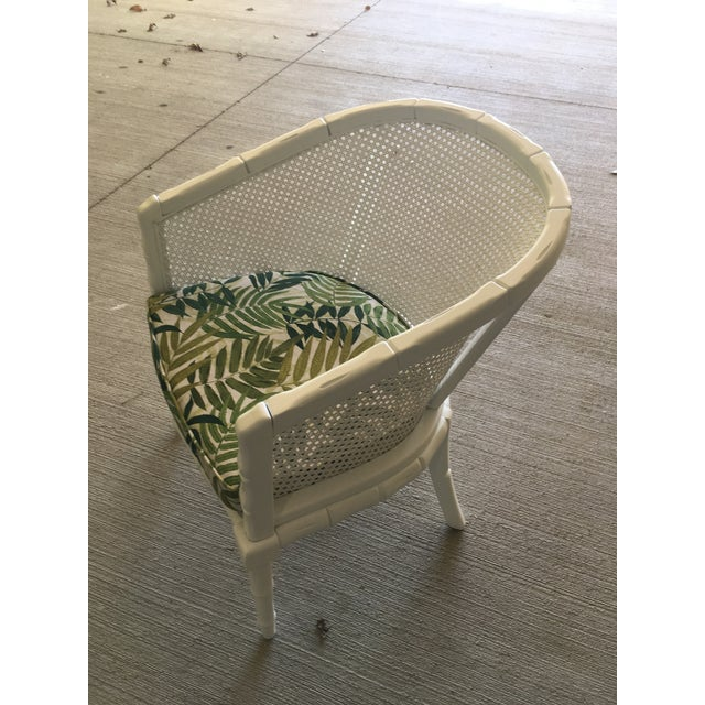 Boho Chic Vintage Faux Bamboo Cane Barrel Back Chair For Sale - Image 3 of 9