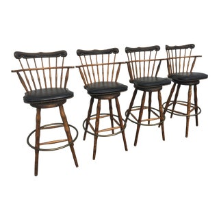 Vintage French Country Style Spindle Upholstered Swivel Stools- a Set of 4 For Sale