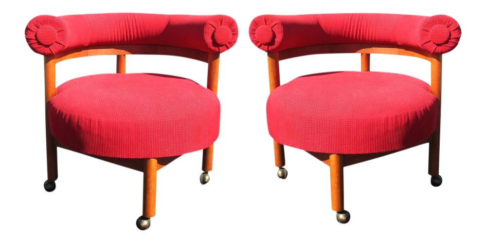 Mid Century Hollywood Regency Barrel Style Chairs   A Pair