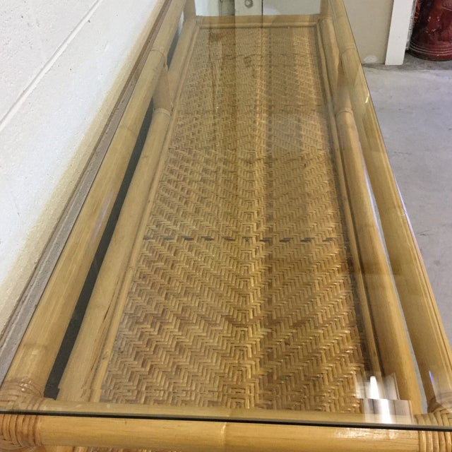 Bamboo Vintage Bamboo & Wicker Floating Glass Top Credenza Buffet For Sale - Image 7 of 12