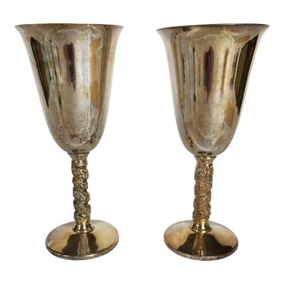 Silver Plated Wine Goblets With Floral Twist Stem - Set of 2 For Sale