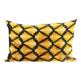Yellow and Black Silk Velvet Lumbar Accent Pillow For Sale