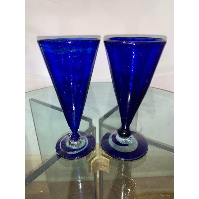 Vintage Cobalt Blue Shrub Glasses - Set of 10 For Sale - Image 9 of 11