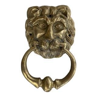 Brass Lion Head Vintage Door Knocker For Sale