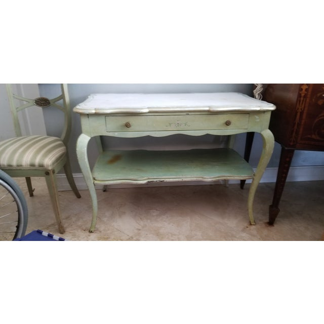 White Mablre Top 1930s Italian Painted Console or Dressing Table For Sale - Image 13 of 13