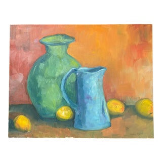 Blue and Green Still Life Painting For Sale