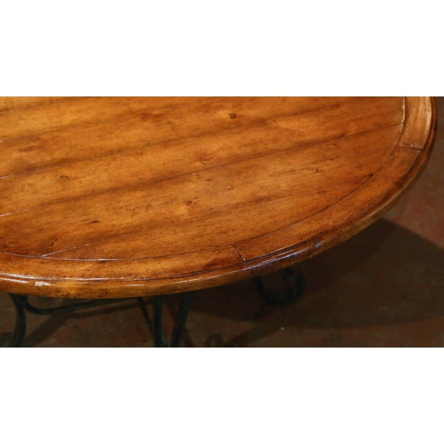 Brown Vintage Walnut Round Dining Room Table on Four-Leg Wrought Iron Base For Sale - Image 8 of 9