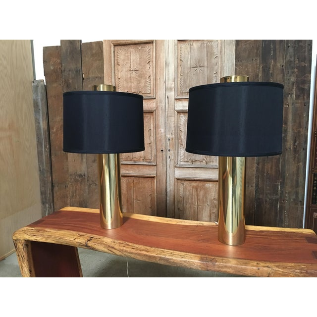 Mid-Century Modern Modernist Brass Column Lamps - a Pair For Sale - Image 3 of 9
