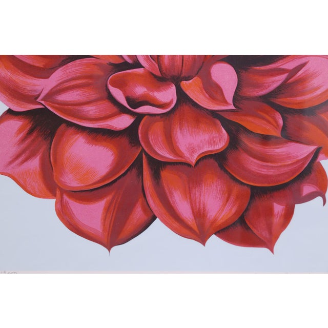 """Signed Serigraph """"Red Dahlia"""" by Lowell Nesbitt For Sale - Image 5 of 6"""