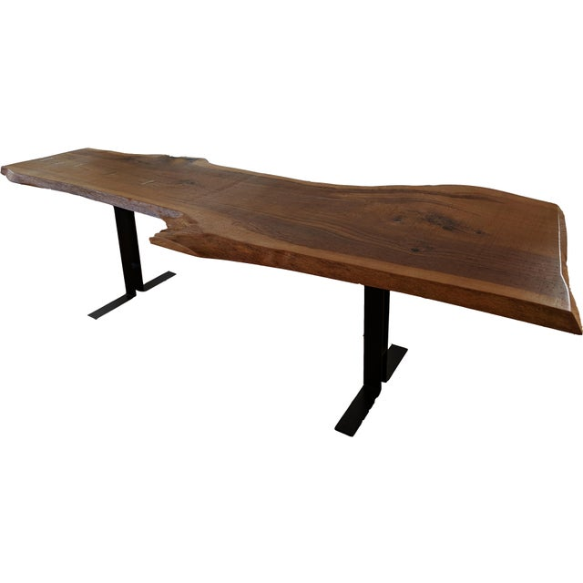 Massive Dining Table - Modern Solid Oak Live Edge Slab Conference Table For Sale - Image 4 of 11
