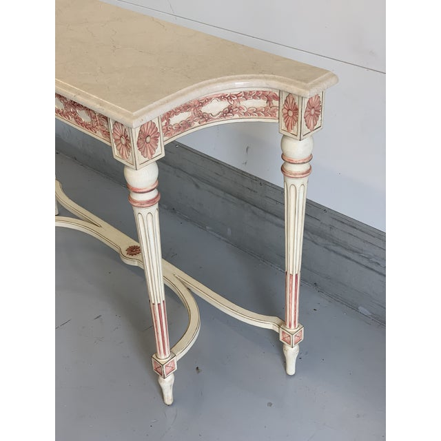 Late 20th Century 20th Century Hollywood Regency Marble Top Console Table For Sale - Image 5 of 11