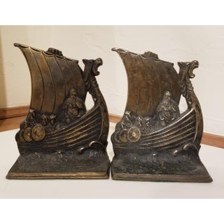 Viking Themed Solid Brass Bookends Preview