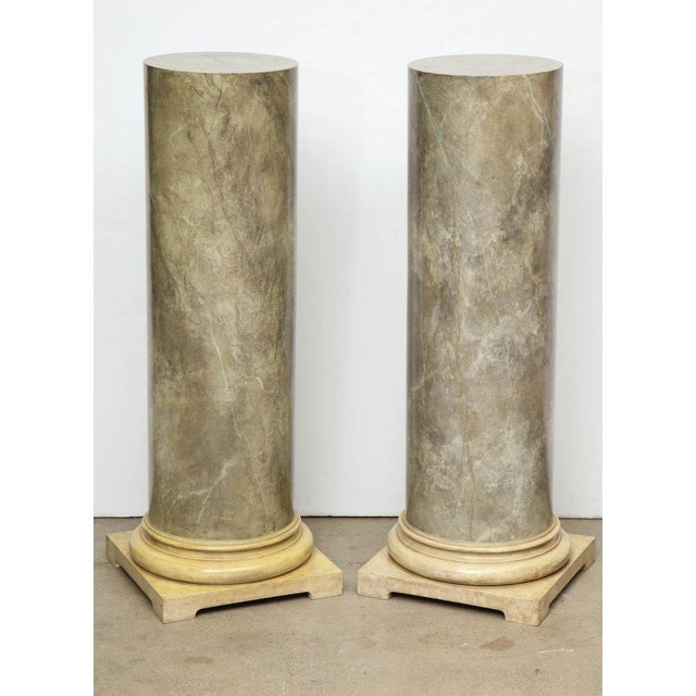 Neoclassical 1980s Faux Marbleized Pedestals - a Pair For Sale - Image 3 of 8
