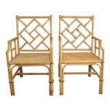 Image of Vintage Palm Beach Style Bamboo Rattan Cane Chippendale Armchairs - a Pair For Sale