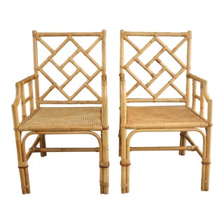 Vintage Palm Beach Style Bamboo Rattan Cane Chippendale Armchairs - a Pair For Sale
