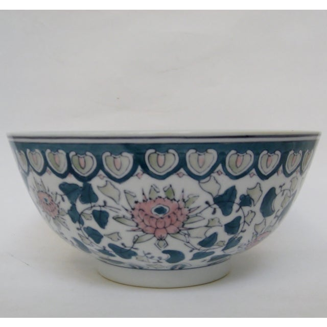 Chinese Green & Pink Floral Porcelain Serving Bowl - Image 2 of 7