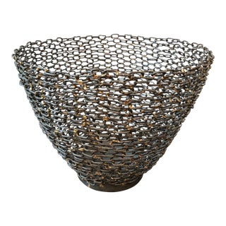 Abstract Hand Forged Metal Bowl For Sale
