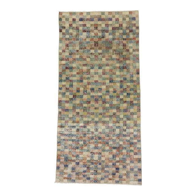 Vintage Mosaic Designed Turkish Deco Rug - 3′10″ × 8′ For Sale