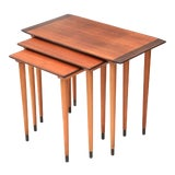 Image of Scandinavian Teak Walnut Nesting Tables, Set of Three 1960s For Sale