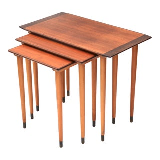 Scandinavian Teak Walnut Nesting Tables, Set of Three 1960s For Sale