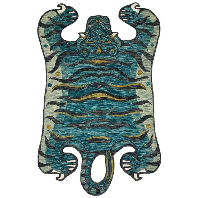 "Justina Blakeney X Loloi Rugs Feroz Rug, Teal - 5'0""x7'6"" For Sale"