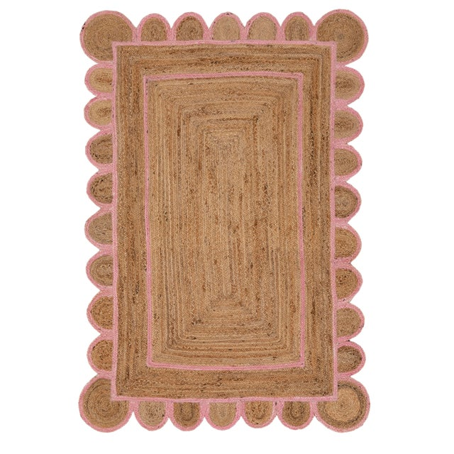 Scallop Jute Light PInk Hand Made Rug - 2'x3' For Sale - Image 9 of 9