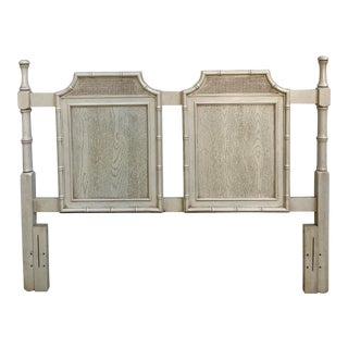 Vintage Mid-Century Chinoiserie Faux Bois and Bamboo Caned Pagoda Queen Headboard For Sale