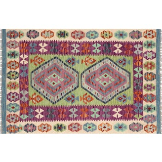 "Nalbandian - Contemporary Afghan Maimana Kilim - 3'3"" X 4'11"" For Sale"