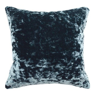 FirmaMenta Italian Aegean Blue Lush Crushed Velvet Pillow For Sale