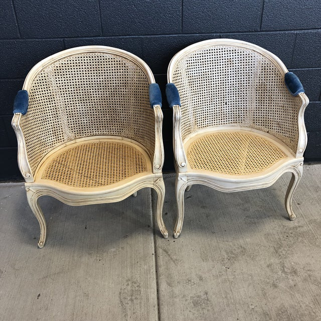 Wood 1960s Louis XV Style Barrel Back Caned Bergere Chairs - a Pair For Sale - Image 7 of 12