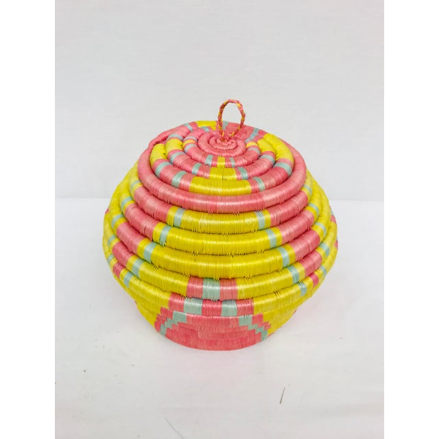 Pink/Yellow & Blue/Pink African Artisan Baskets - A Pair - Image 7 of 11