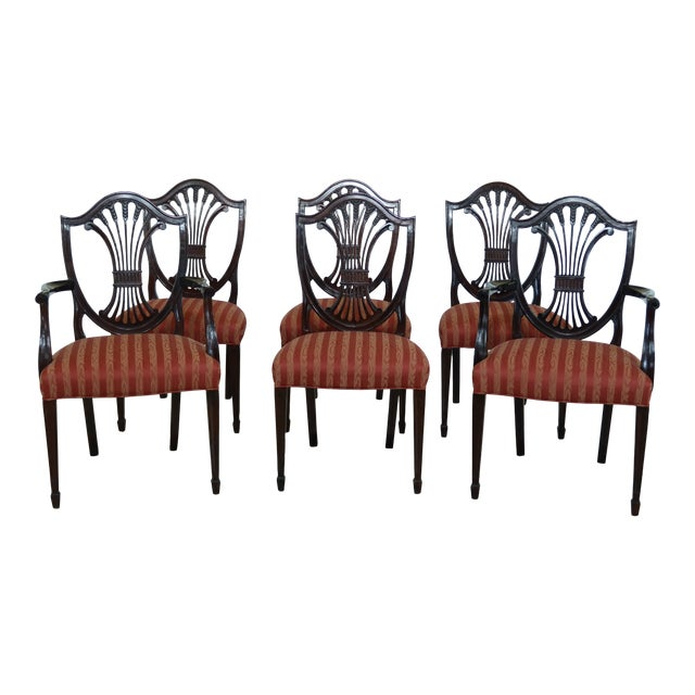 Stickley Shield Back Mahogany Dining Room Chairs - Set of 6 For Sale