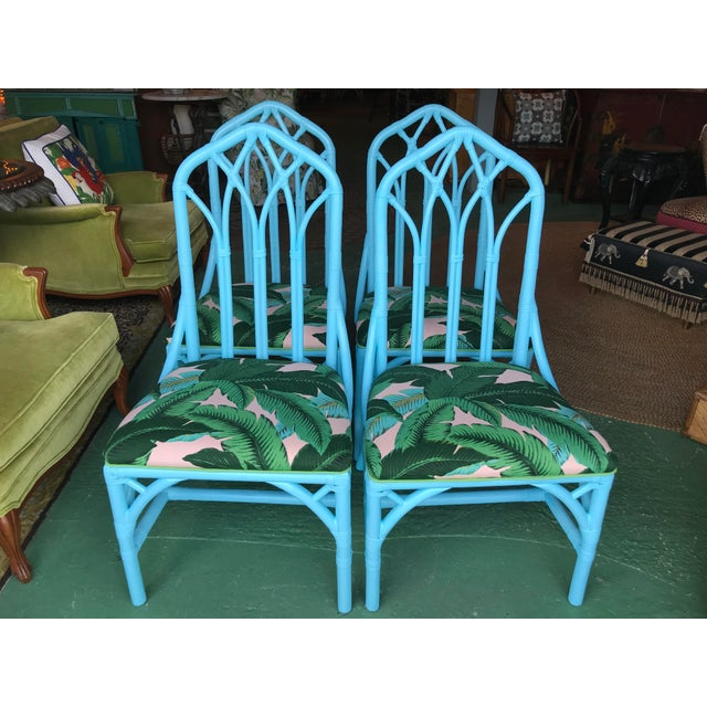 Coastal Regency Lexington Cathedral Turquoise Palm Leaf Upholstered Chairs-Four For Sale - Image 11 of 12