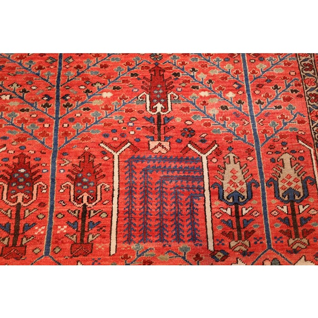 Blue Antique Heriz Persian Rusty Red Background Rug - 9′7″ × 11′7″ For Sale - Image 8 of 11