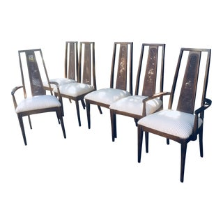 Vintage Mid Century Modern Walnut Dining Chairs- Set of 6 For Sale