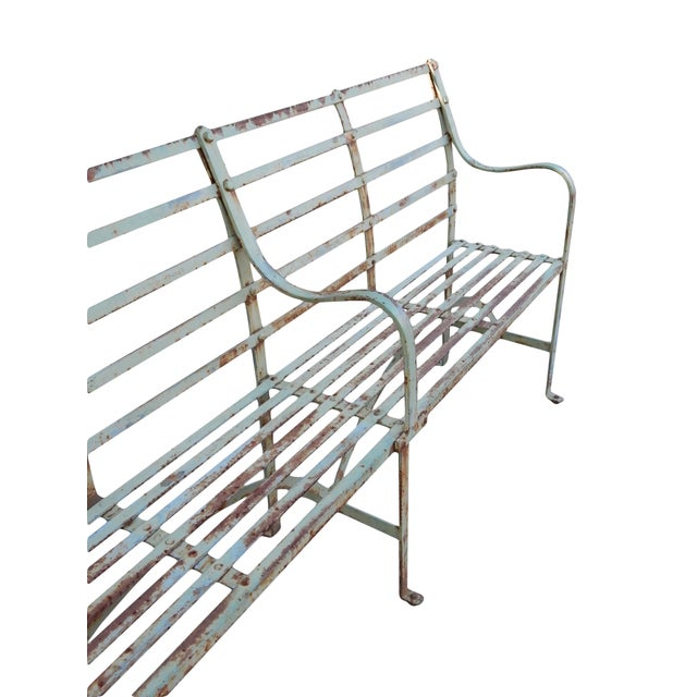 Industrial Slatted Iron Bench For Sale - Image 3 of 9