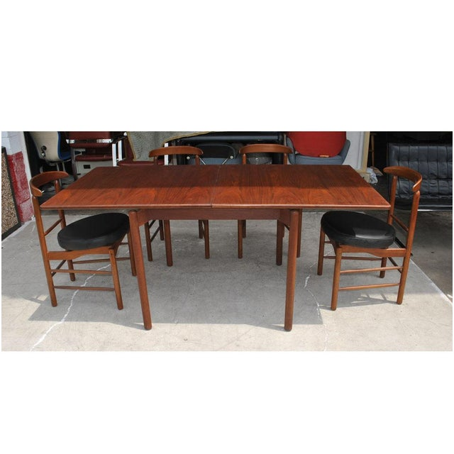 Greta Grossman 1960s Vintage Greta Grossman Teak Expandable Dining Table and Chairs - 5 Pieces For Sale - Image 4 of 12