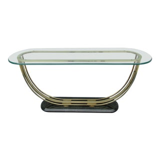 Glass and Faux Marble Sofa Table With Arched Support