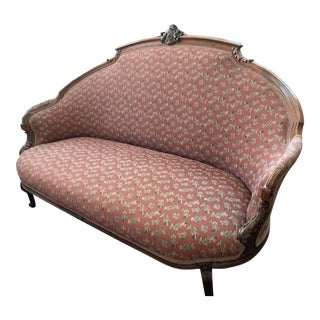 Victorian Style Brown Settee For Sale