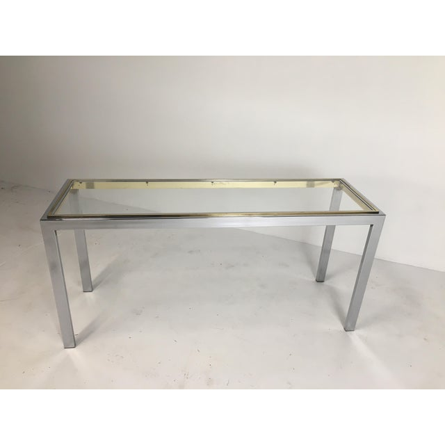 20th Century Minimalist Chrome and Glass Parsons Console Table With Brass Accents For Sale - Image 13 of 13