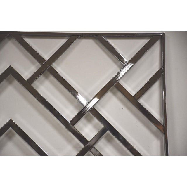 Mid-Century Modern Milo Baughman Style King Chrome Headboard For Sale - Image 3 of 8