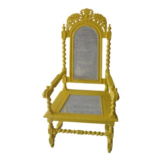 Antique Painted Carved Wood Chair Painted in Yellow For Sale