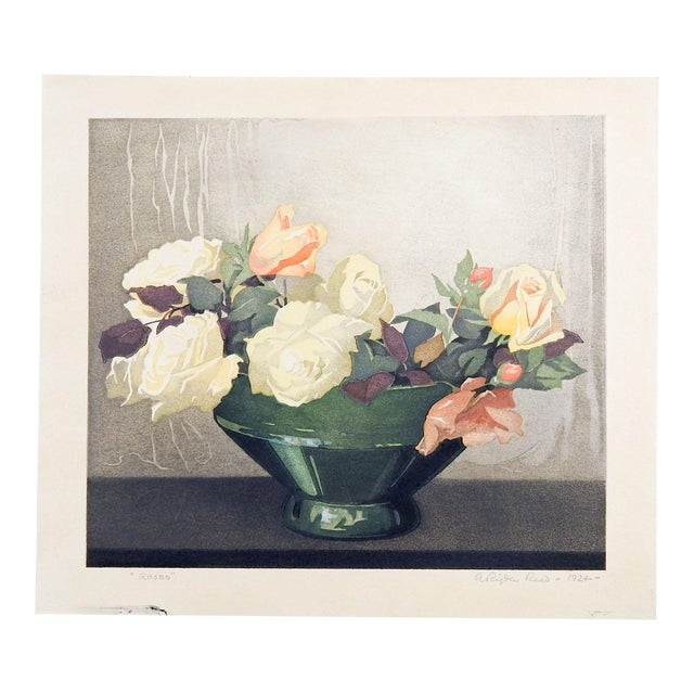 Roses Woodcut by Arthur Rigden Read For Sale
