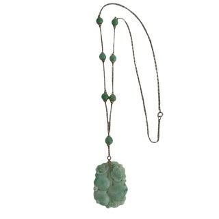 1920s Vintage Art Deco Period Carved Jade Pendant For Sale