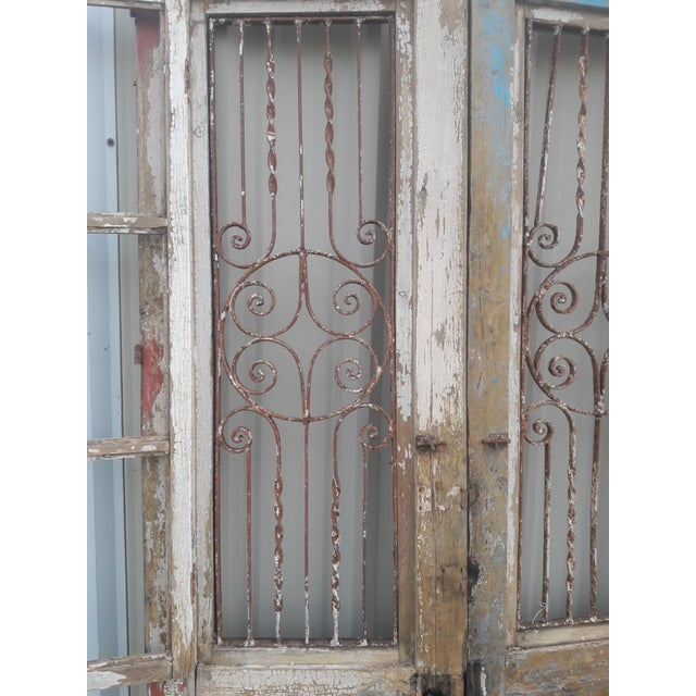 Metal Antique French Iron Grill Door Rustic Farmhouse Natural Doors - a Pair For Sale - Image 7 of 11