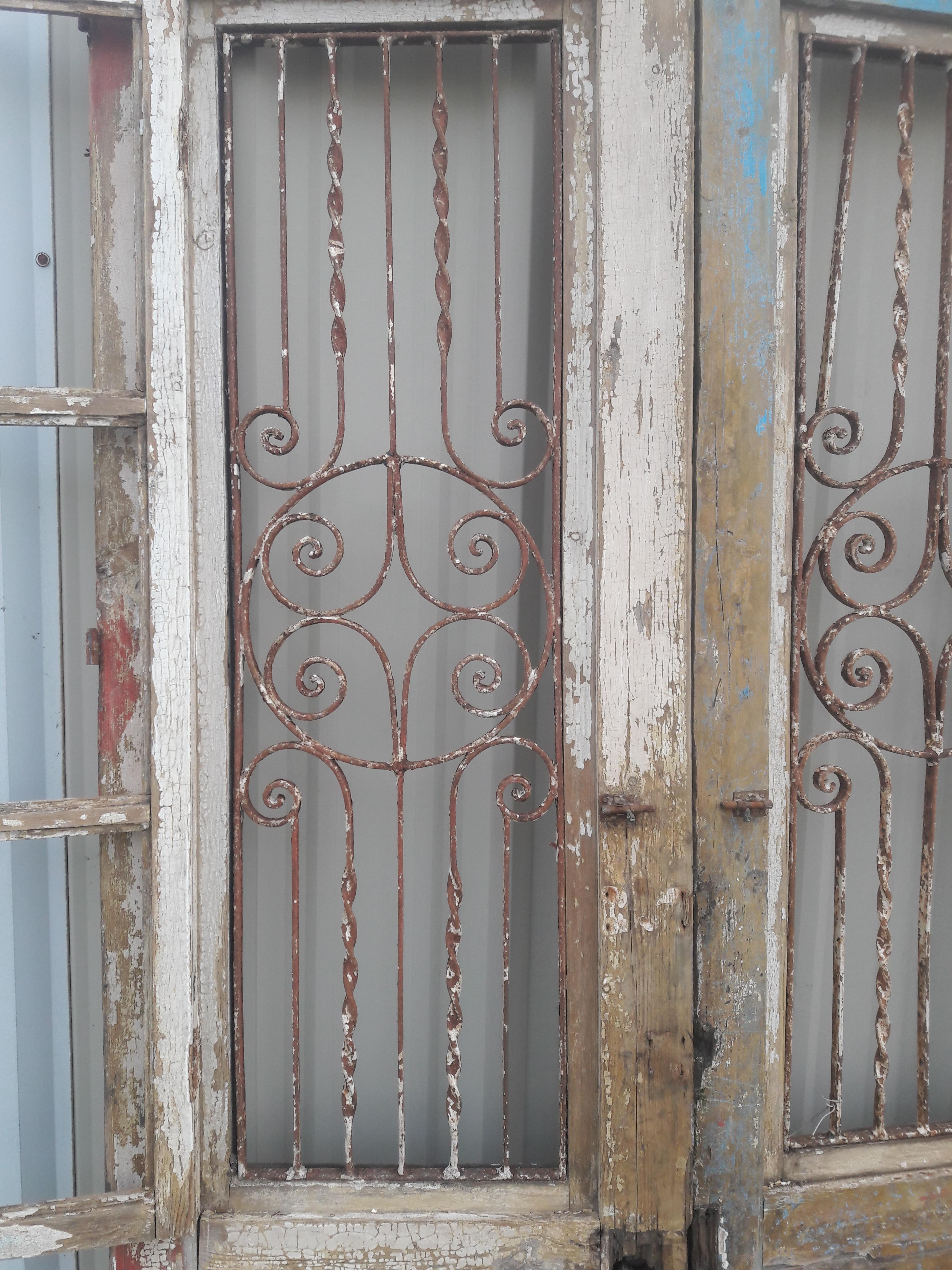 Antique French Iron Grill Door Rustic Farmhouse Natural Doors - a Pair - Image 7 of  sc 1 st  Chairish & Antique French Iron Grill Door Rustic Farmhouse Natural Doors - a ...