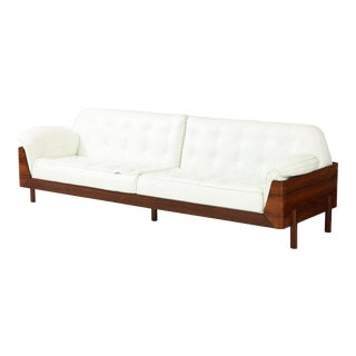 Brazilian Sofa in Jacaranda and White Leather For Sale