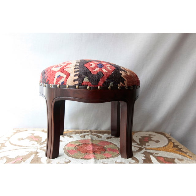 A beautiful one of a kind handmade kilim covered Ottoman STOOL, wooden constructed from Hornbeam tree. This comfortable...